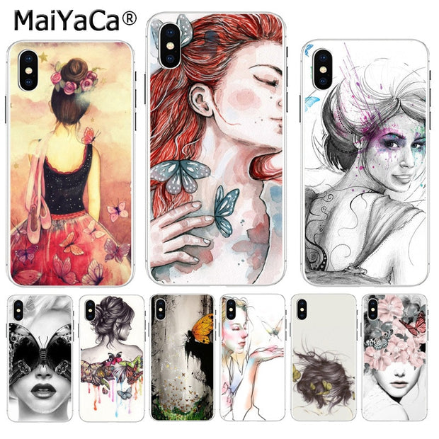 MaiYaCa Butterfly Dancing Girl Effect Tableau Fee Girl Soft TPU Silicone Phone Case For IPhone 8 7 6 6S Plus X XS Max 55S SE XR