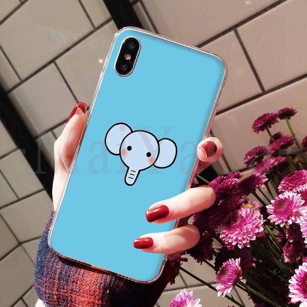 MaiYaCa Cute Carton Elephant Painted Cover Colourful Style Design Cell Phone Case For IPhone 8 7 6 6S Plus X XS Max 5 5S SE XR