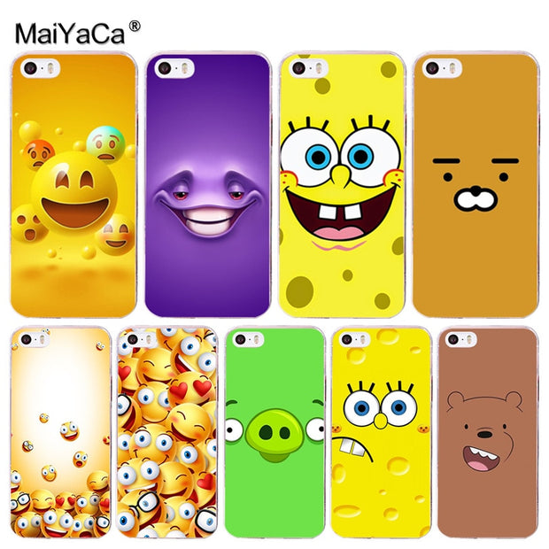 Maiyaca Funny Cartoon Character Face Emoji Vertical Phone Case For Iph Copper Cases