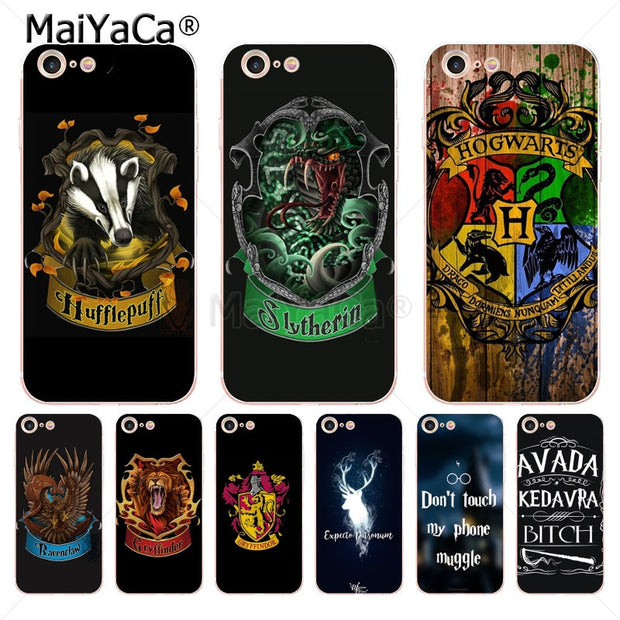 buy popular 10a23 36b2f MaiYaCa Harry Potter Gryffindor Hufflepuff Ravenclaw Phone Case Cover For  IPhone 6S 6plus 7 7plus 8 8Plus X 5 5S Case Cover