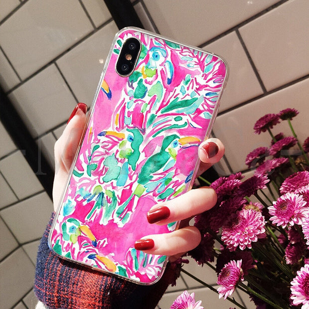 MaiYaCa Lilly Pulitzer Summer Flower Pink DIY Painted Beautiful Phone Case For IPhone 8 7 6 6S Plus X XS Max 5 5S SE XR