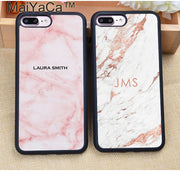 MaiYaCa PERSONALISED Initials NAME Monogram Marble Soft Rubber Phone Cases For IPhone 6 6S 7 8 Plus X XR XS MAX 5 5S SE Cover