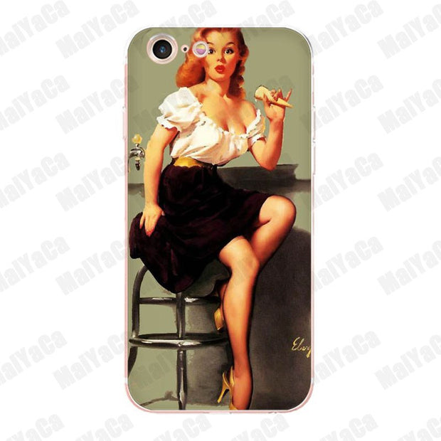 MaiYaCa PinUp Girls Pin Up Girl Soft Phone Accessories Cover Case ...