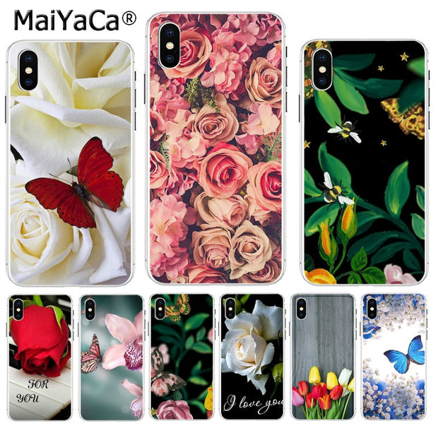MaiYaCa Red Butterfly White Roses Flower Plants Cactus Hot Printed Cool Phone Case For IPhone 8 7 66S Plus X XS Max 10 55S SE XR