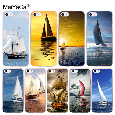 MaiYaCa Scenery Ocean Sky Sailboat Luxury Hybrid Phone Case For Apple IPhone 8 7 6 6S Plus X 5 5S SE 5C 4 4S Mobile Cases