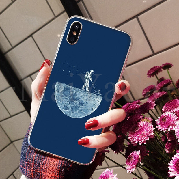 MaiYaCa Space Astronaut Diy Luxury High-end Protector Phone Cover For IPhone 8 7 6 6S Plus X XS Max 10 5 5S SE XR Coque Shell