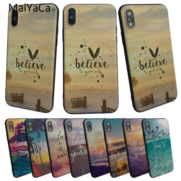 MaiYaCa Summer Blue Sky Beach Quotes For Iphone 5 5s 5c SE Rubber Cell Phone Case 6 6s 7 7plus 8 8plus Case Cover