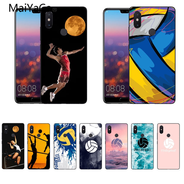 MaiYaCa Volleyball Sports Black Cell Phone Cases For Xiaomi Redmi Note2/5 MAX2 MIX1 MI8 Note2 3 Cell Phone Case