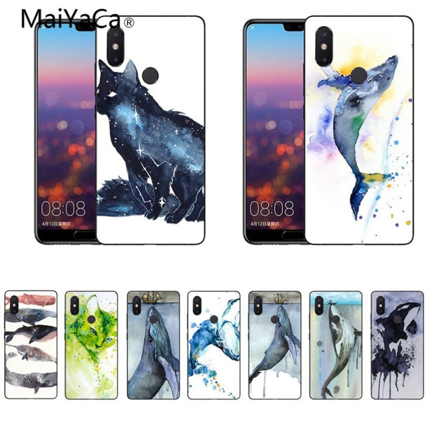 MaiYaCa Watercolor Painting Animal Cat Whales Original Case For Xiaomi Redmi 5plus 5 Note5 Mi8 Mi6 Max2 Max3 4X Mi6