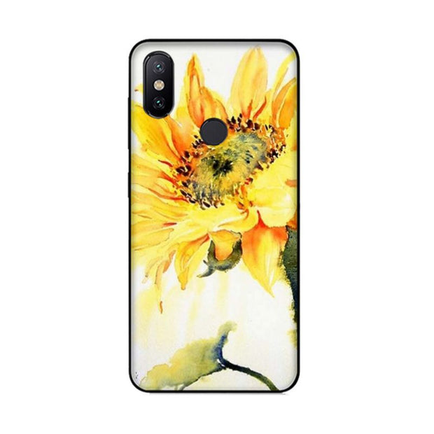 MaiYaCa Watercolor Painting Sunflower Black Case Cover For Xiaomi Redmi 5plus 5 Note5 Mi8 Mi6 Max2 Max3 4X Mi6