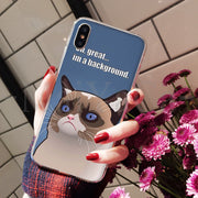 MaiYaCa Grumpy Cat Meme Lovely Lovely Phone Accessories Case For IPhone 8 7 6 6S Plus X XS Max 10 5 5S SE XR Coque Shell