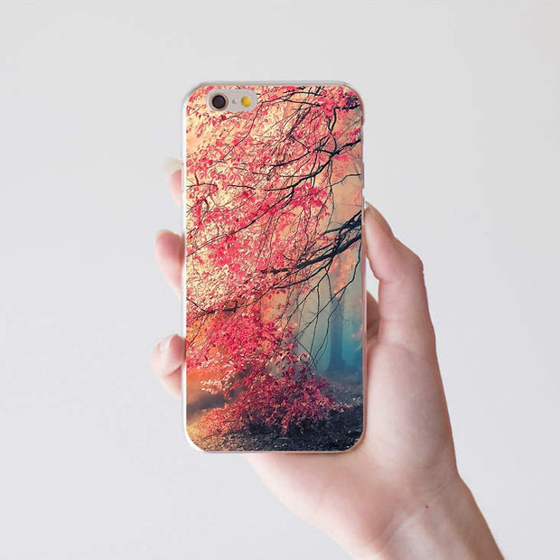 Maple Tree Print Case Cover For Samsung S7 For IPhone 7 8 For Huawei P9 For Xiaomi Redmi