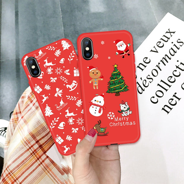 Merry Christmas New Year Elk Snowman Phone Case For Iphone XS Max 7 6s 8 Plus X Soft TPU Silicone Cover For IPhone XS XR Cases