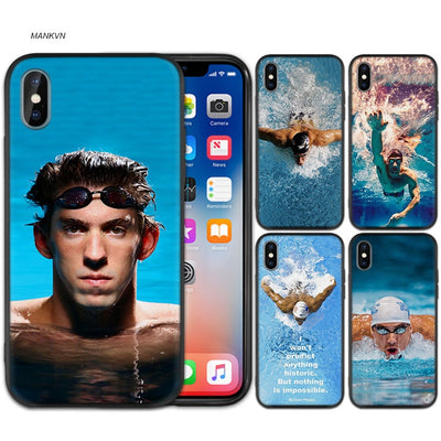 Michael Phelps Swimming Black Scrub Silicone Phone Soft Case Cover For IPhone XS Max X XR 6 6s 7 8 Plus 5 SE 5S