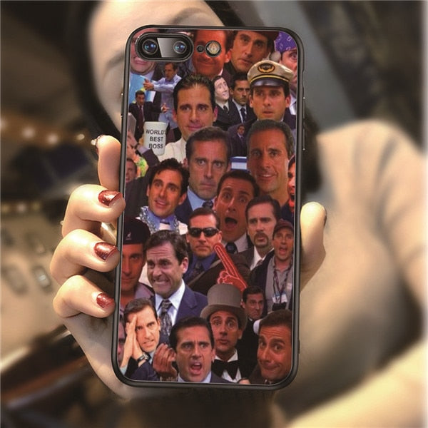 best website bf1ea fac37 Michael Scott The Office Humor Art Pattern Phone Cover For Iphone 5 5S 6 6S  7 8 Plus 7Plus 8Plus XR X XS MAX Silicone Sotf Cases