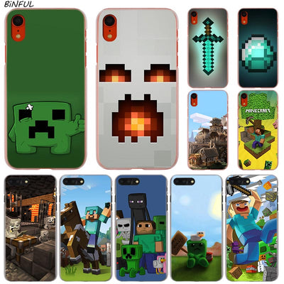 Minecraft Hot Fashion Transparent Hard Phone Cover Case For IPhone X XS Max XR 8 7 6 6s Plus 5 SE 5C 4 4S