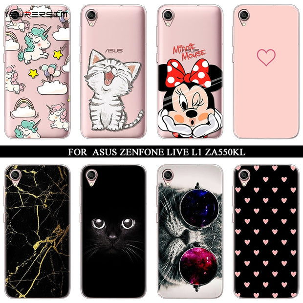 outlet store a23f3 83847 Minnie Soft Case For ASUS Zenfone Live L1 ZA550KL Case For Asus X00RD TPU  Cover For Asus ZenFone Live L1 ZA550KL ZA 550KL Cases
