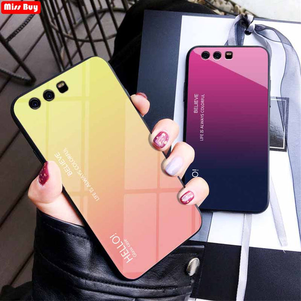 Missbuy Luxury Gradient Tempered Glass Shockproof Phone Cases For Huawei P10 Fundas Slim Back Cover For Huawei P10 Plus Coque