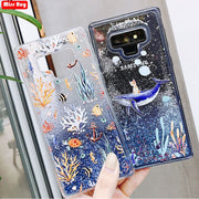 Missbuy Whale Phone Case For Samsung Galaxy Note 9 8 S9 S8 Plus S7 Edge A6 A8 2018 A3 A5 A7 J3 J5 J7 Coque Liquid Glitter Cover