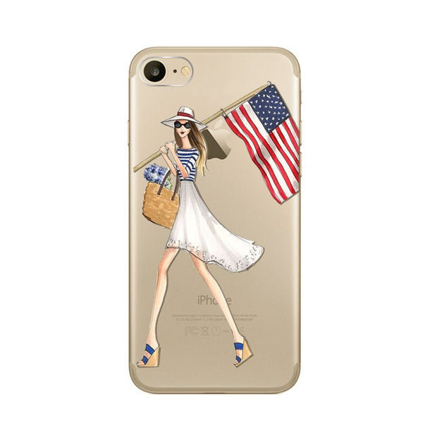 Modern Dressing Shopping Girl Phone Cases For Apple IPhone 7 Plus Inch Soft TPU Silicon Transparent Ultra Thin Cover Capa Fundas