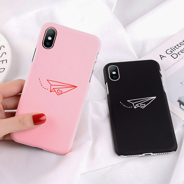 e520a3b366 Moskado Cartoon Couples Phone Case For Iphone X 6 6S 7 8 Plus Paper Plane  Pattern