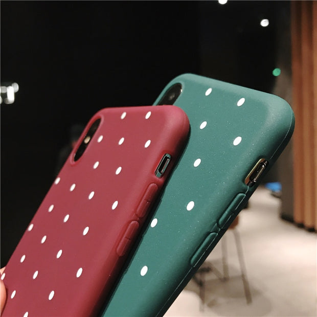 Moskado For IPhone 7 X Polka Dot For Iphone 6 6s 7 8 Plus Soft TPU Cover Wave Point Fresh Case For Iphone XS MAX XR 5 5s SE Capa