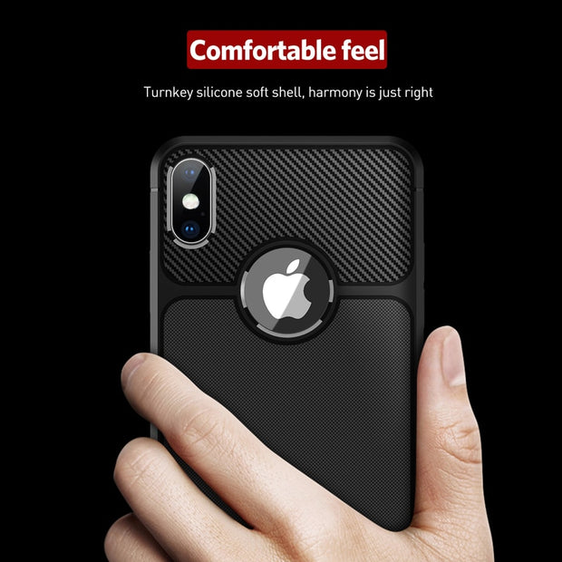 Moskado Phone Case For Iphone 7 8 6 6S Plus X XS Max Carbon Fiber Texture For Iphone XR Soft TPU Business Fashion Case Cover
