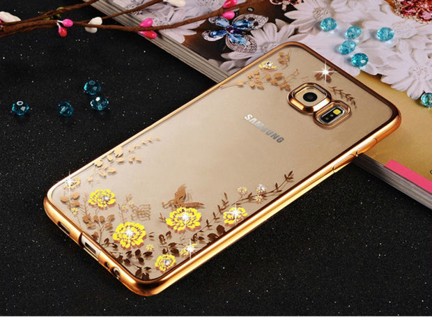 NEW Phone Case For Samsung Galaxy S5/6 S6Edge Beautiful Roses Flower Butterfly Gold Soft TPU Back Cover Skin Shell Capa Celular