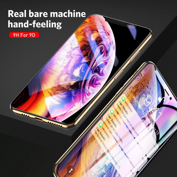 NOWAL 9D 9H Tempered Glass Screen Protector Full Coverage Protective Phone Case For IPhone X XR XS Max 10 6 6S 7 8 Plus Cover