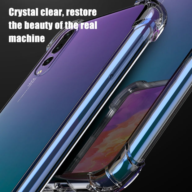 New Anti-knock Clear TPU Silicone Cases For Huawei P20 Pro P20 Lite Transparent Back Cover Coque For Huawei Mate10 20 Pro