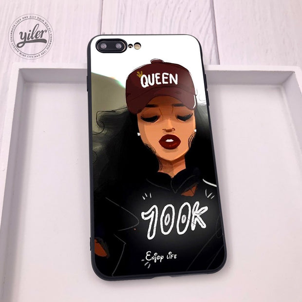 super popular f4649 67320 New Personalized Black Girls For Case IPhone 7 8 Plus XS Max Melanin Poppin  Case For IPhone 8 7 6 6S Plus X 5 5S SE Cases Cover
