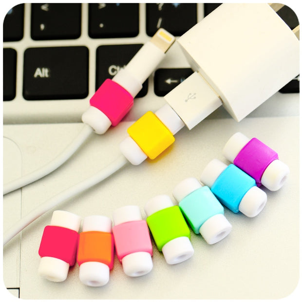 New USB Cable Earphones Protector Colorful Cover Case For Iphone 5 5S SE 5C 6 Plus 7 7 Plus Sansung S8 Plus Cases Fundas Coque
