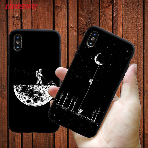 Newest Space Moon Astronaut Phone Cases For Iphone 7 8 X Case For Iphone 6 7plus Xr Xs Max Planet Star Frosted Soft Back Cover Phone Bags & Cases Cellphones & Telecommunications