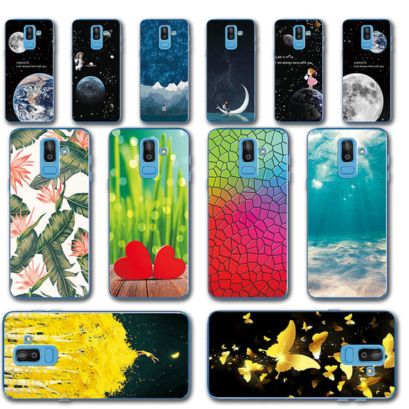finest selection 8817e 08827 Novelty Rose Flower Painted Phone Case For Samsung Galaxy J8 2018 Silicone  SM-J800F Back Cover For Samsung J8 2018 J800F 6.0