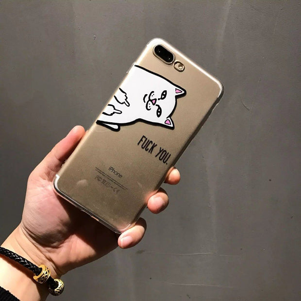 ORYKSZ 3D Cat Silicone Transparent Case For IPhone X Case For IPhone 6 6S 7 8 Plus Case Cute Animal Cartoon Anti Knock Cover
