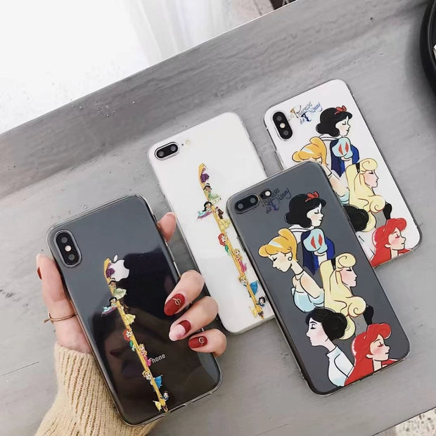 ORYKSZ Case For IPhone 6 Ase Luxury Silicone Phone Cover For IPhone X 6s 7 8 Plus Case Cartoon Girl Transparent Patterned Cases
