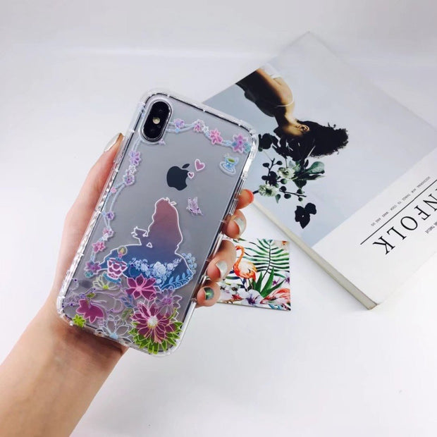 ORYKSZ For Iphone X Case Cartoon Flower Phone Case For Iphone 7 Case For Iphone 7 6 6S 8 X Plus TPU Transparent Phone Cover