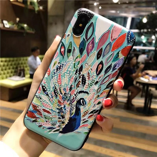 ORYKSZ For Iphone X Case Luxury Cartoon Peacock Patterned Phone Tpu Case For Iphone 7 8 6S Plus X Case Silicone Soft Back Cover