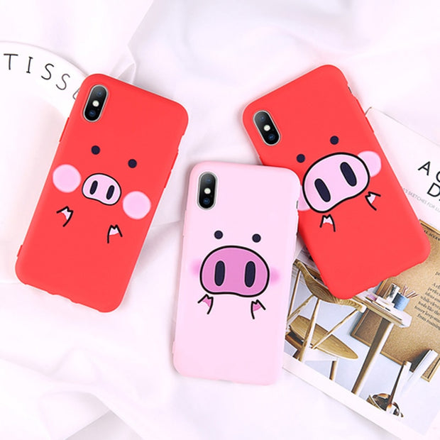 OTTWN Phone Case For IPhone 8 7 6 6s Plus Cartoon Pink Cute Pig Pattern Soft TPU Back Cover Cases For IPhone XS MAX XR X 5 5S SE