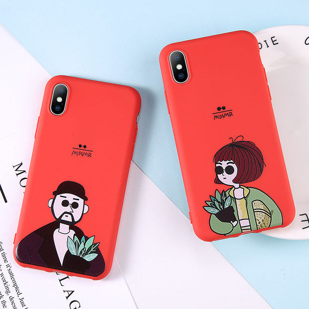 OTTWN Phone Case For IPhone 6 6S Plus 7 8 Plus Cartoon Girl Pattern Cases Soft TPU Back Cover For IPhone X XS MAX XR 5 5S SE