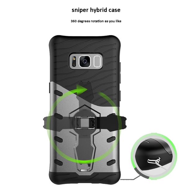 Olaudem Cases TPU + PC For Samsung Galaxy S8 Case 360 Degrees Rotation For Samsung S9 Case Shockproof S7 Edge Note 8 Plus MC370