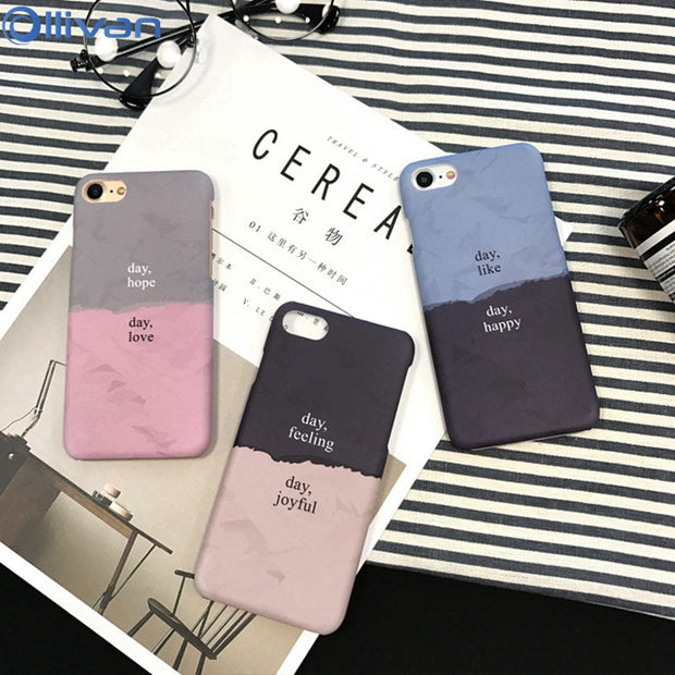 Ollivan Macaron For IPhone 6s Case Color Match Matte Coque For IPhone 7 8 6 6s Plus Case Back Half-wrapped Hard Case Funda