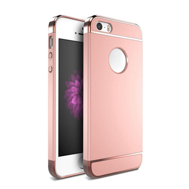 Ollivan Phone Cases For Iphone 5 5s SE Luxury Electroplate Hard PC Case 3 In 1 Anti-Konck Phone Back Cover For Iphone 5s SE 5