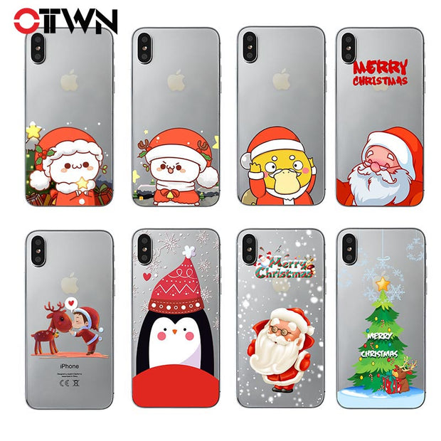 Christmas Phone Case Iphone Xr.Ottwn Christmas Phone Case For Iphone X Xr Xs Max Kawaii Clear Santa Claus Elk Case Soft Tpu Back Cover For Iphone 6 6s 7 8 Plus