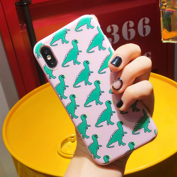 Ottwn Dinosaur Case For IPhone 7 6 6S 8 Plus 5 5s SE X XR XS Max Silicone Phone Case Love Heart Soft TPU Back Cover For IPhone 6