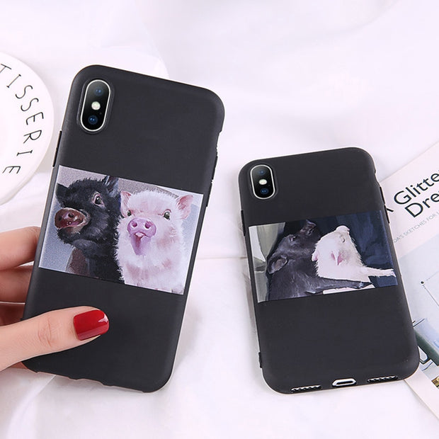 Ottwn For IPhone 6 Case Cartoon Cute Pig Pattern For IPhone 6S 7 8 Plus 5s SE X XR XS Max Silicon Phone Case Soft TPU Back Cover