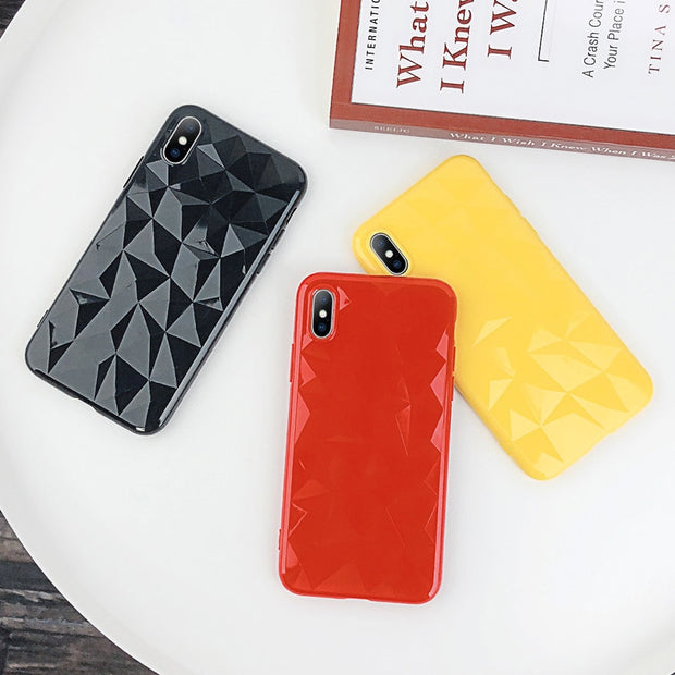 Ottwn Phone Case For IPhone 6 6s 7 8 Plus X XR XS Max Soft TPU Back Cover Fashion Candy Colors 3D Diamond Texture For IPhone X