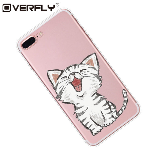 Overfly Transparent Soft Silicone TPU Cases Cute Cat Back Cover Case For IPhone 6 6s 7 8 Plus Phone Case For IPhone 7 8 5 5s