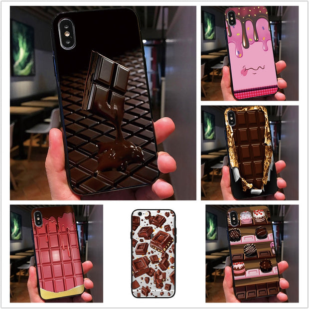 PINK Chocolates Cover For Iphone 7 8 Plus 5 5S 6 6S X XR XS MAX Black Choc Phone Case For Samsung Galaxy S7 Edge S8 S9 Plus
