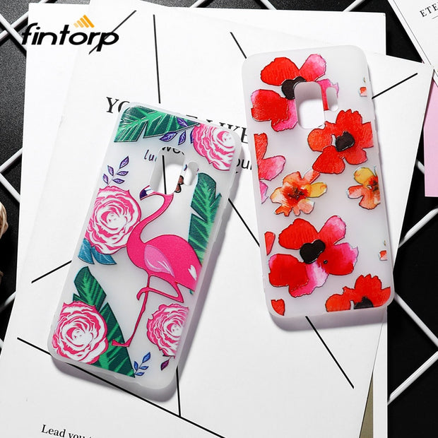 Painted Flower Case For Samsung Galaxy S9 S8 Plus S7 S6 Edge Cases For Samsung Galaxy A5 2017 A3 2016 A6 A7 A8 Plus 2018 Covers